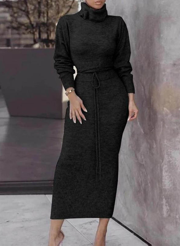 Black Women's Dresses Solid Color High Neck Knot Long Sleeve Bodycon Maxi Dress LC613412-2
