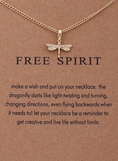 Gold Women's Necklaces Cute Fashion Dragonfly Necklace LC01819-12