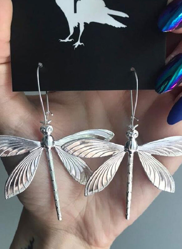 Silver Women's Earrings Dragonfly Alloy Earrings LC01860-13