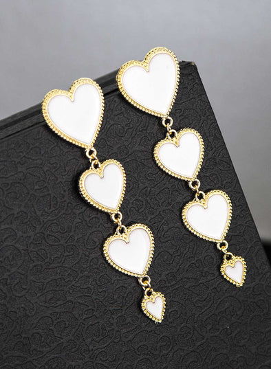 White Women's Earrings Heart-shaped Four-layer Peach Heart Pendant Earrings LC011029-1