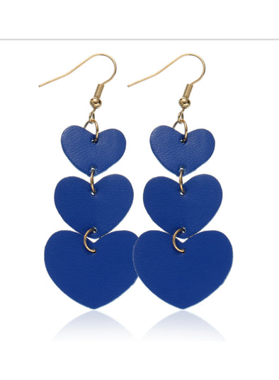 Blue Women's Earrings Heart-shaped Alloy Multilayer Solid Earrings LC011038-5
