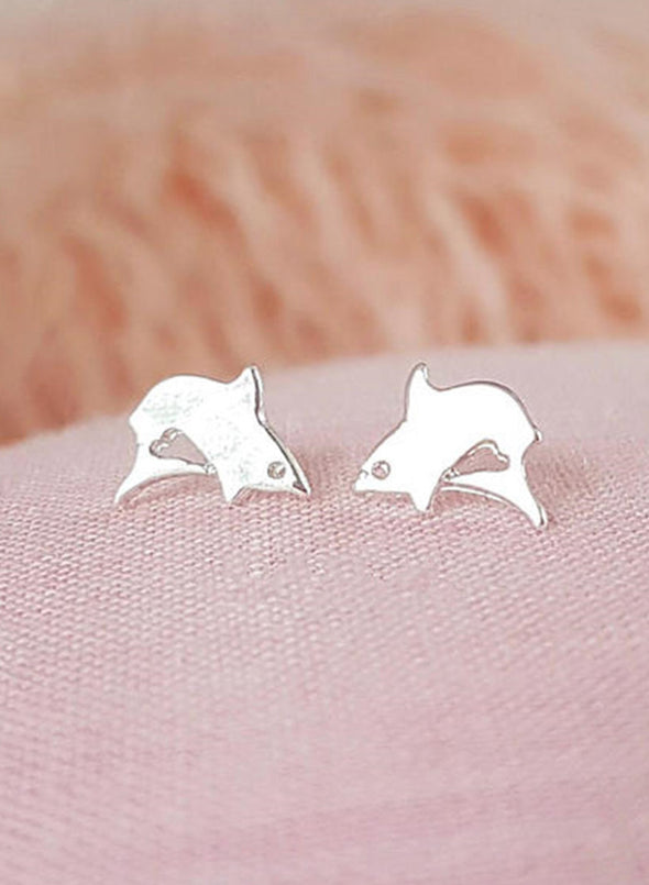 Silver Women's Earrings Metal Casual Little Shark Earrings LC011046-13