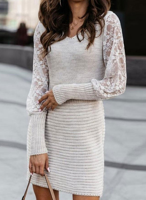 White Women's Dress Round Neck Long Sleeve Solid Lace Casual Daily Mini Dress LC224263-1