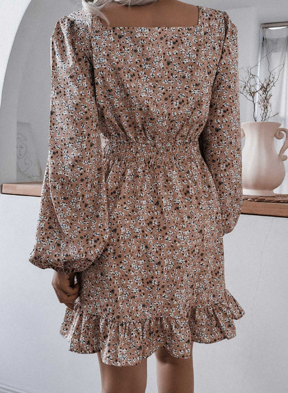 Apricot Women's Mini Dresses Floral Long Sleeve Square Neck Daily Office Ruffle-sleeve Mini Dress LC224283-18