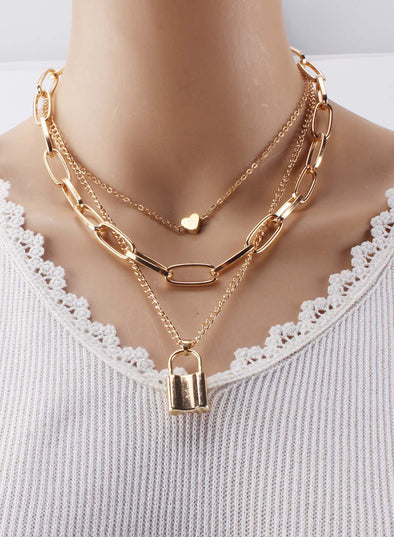 Gold Women's Necklaces Multi-layer Lock Heart-shaped Necklace LC011124-12