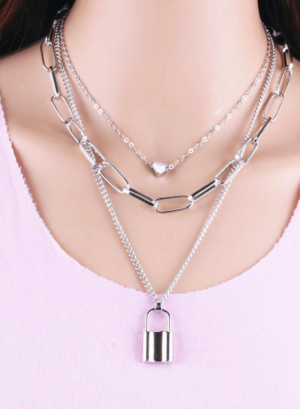 Silver Women's Necklaces Multi-layer Lock Heart-shaped Necklace LC011124-13