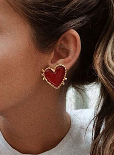 Red Women's Earrings Holiday Alloy Heart-shaped Cute Earrings LC011126-3
