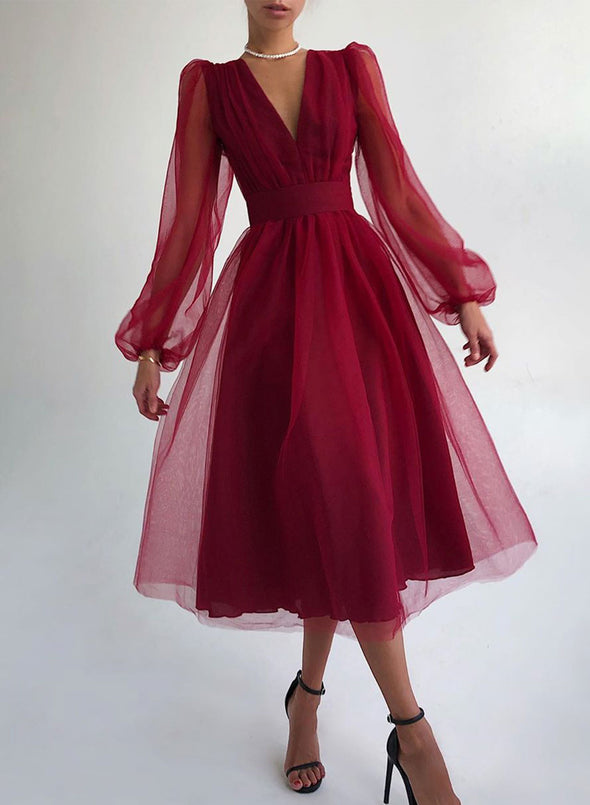 Red Women's Dress Solid Criss Cross V Neck Long Sleeve Party Elegant Midi Dress LC613017-3