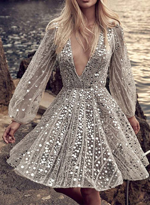 Silver Women's Dress Solid Sheer Sequin Fit & Flare V Neck Long Sleeve Sexy Party Date Knee Length Dress LC224451-13