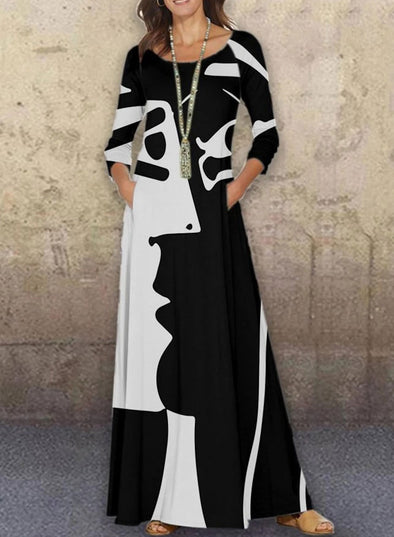 White Women's Maxi Dresses Color Block Abstract Portrait 3/4 Sleeve Fit & Flare Round Neck Casual Maxi Dress LC613810-1