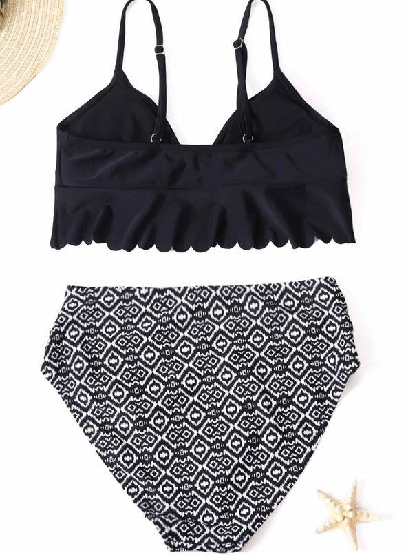 V-neck Scalloped Underbust High Waist Bikini