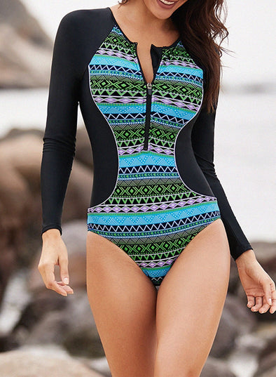 Tribal Hourglass One Piece Rashguard