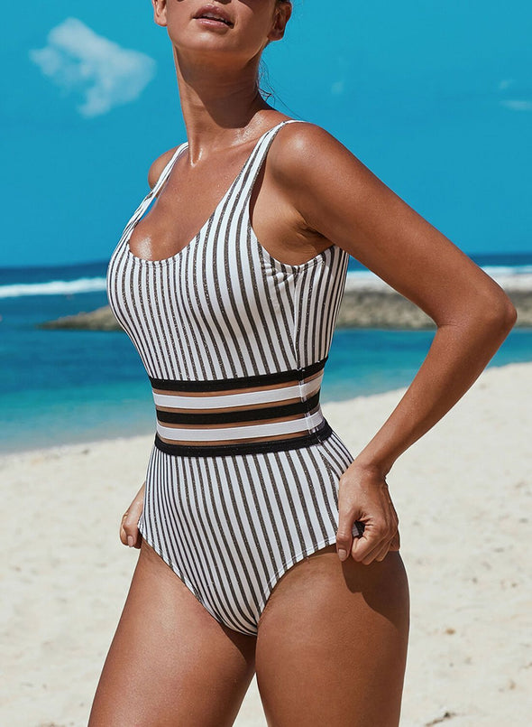 Striped Open Back One Piece Swimsuit