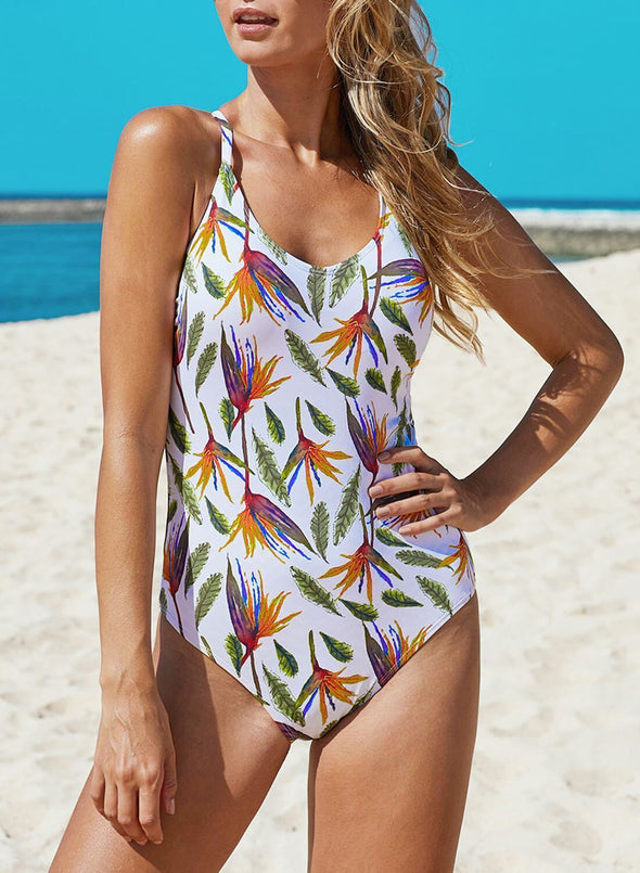 Criss Cross Hollow-out Printed Monokini
