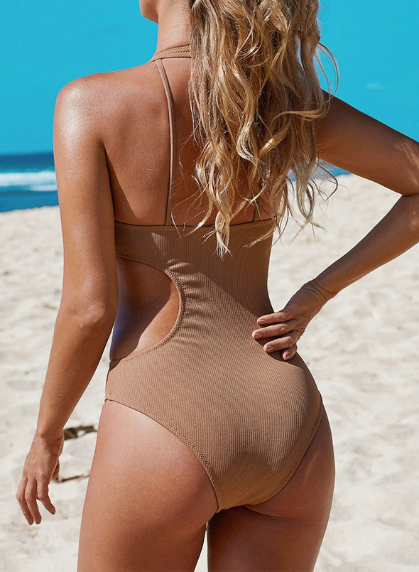 Frilled Neck Cut-out Ribbed One-piece Swimwear