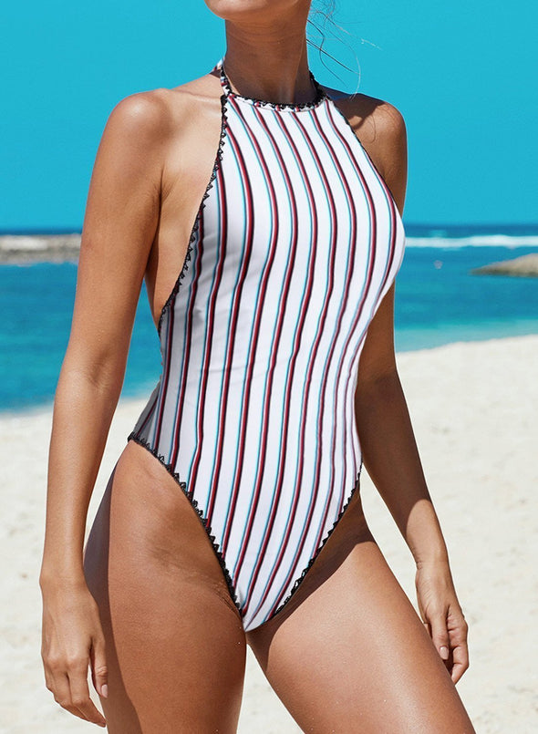 Striped Open Back One-piece Swimwear