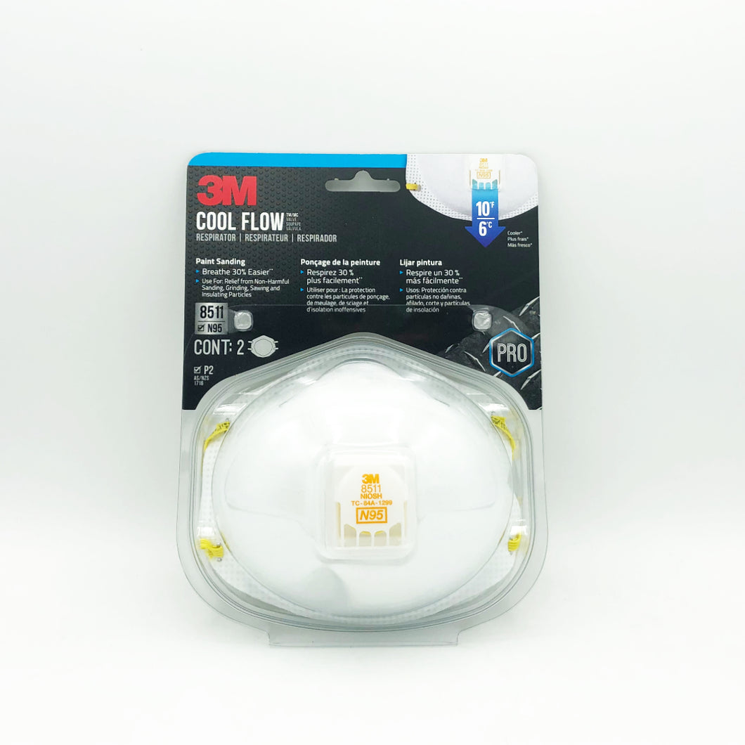 3M 8511 N95 Respirator with Cool Flow Valve (2-Pack)