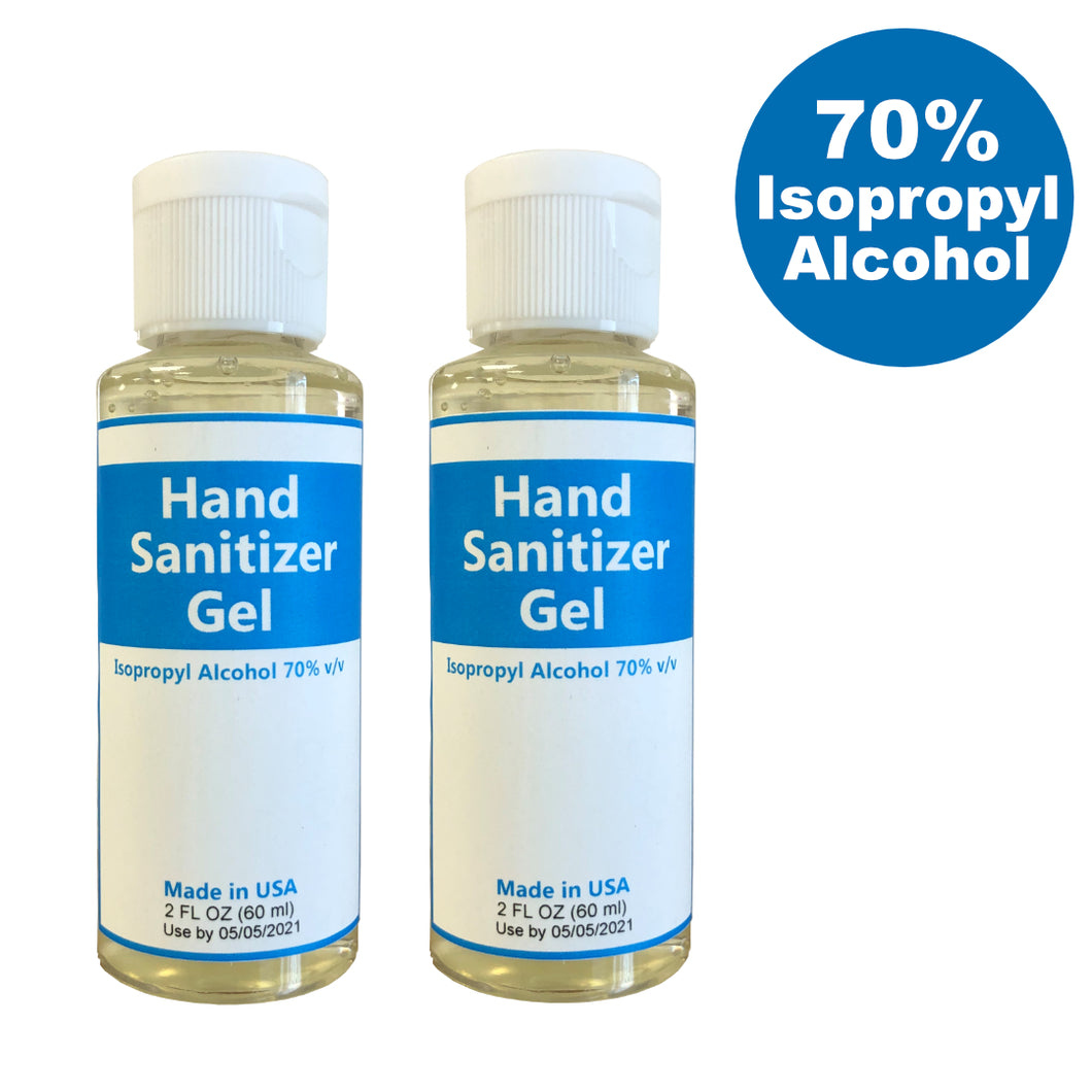 Hand Sanitizer - 70% Isopropyl Alcohol - 2 oz (Pack of 2)