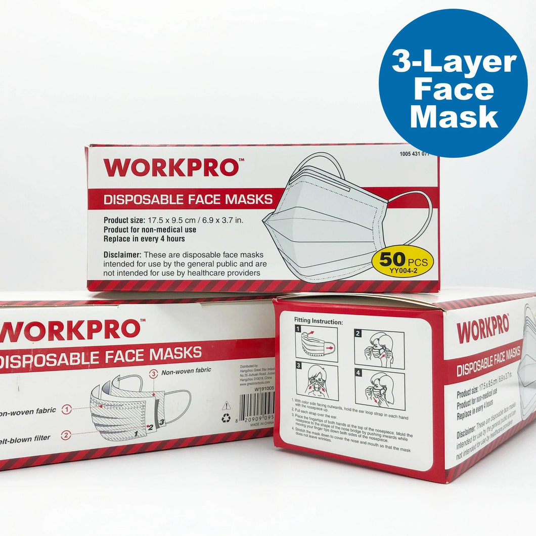 WORKPRO 3-Layer Disposable Face Mask - 50 PCS