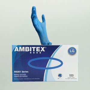 AMBITEX N5201 Series Powder Free Blue Nitrile Gloves - 100 Gloves/Box (Large)(NLG5201)