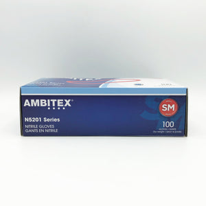 AMBITEX N5201 Series Powder Free Blue Nitrile Gloves- 100 Gloves/box (Small)