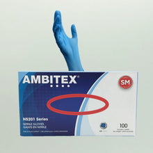 Load image into Gallery viewer, AMBITEX N5201 Series Powder Free Blue Nitrile Gloves- 100 Gloves/box (Small)