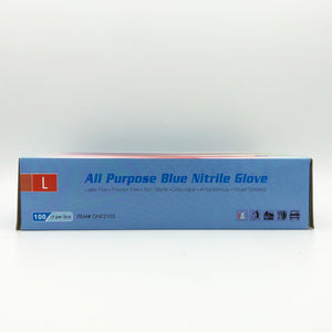 All Purpose Blue Nitrile Gloves - Size Large (100 ct)