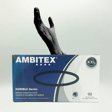 Load image into Gallery viewer, Ambitex Black Disposable Powder-Free Nitrile Exam Gloves - 90 Gloves (XXL)