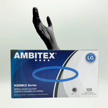 Load image into Gallery viewer, Ambitex N200BLK Series Powder Free Black Nitrile Gloves - 100/Box (Large)