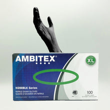 Load image into Gallery viewer, Ambitex N200BLK Series Powder Free Black Nitrile Gloves - 100/Box (X-Large)