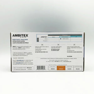 Ambitex N200 Series Blue Nitrile Exam Gloves - 100 Gloves/Box (Medium)