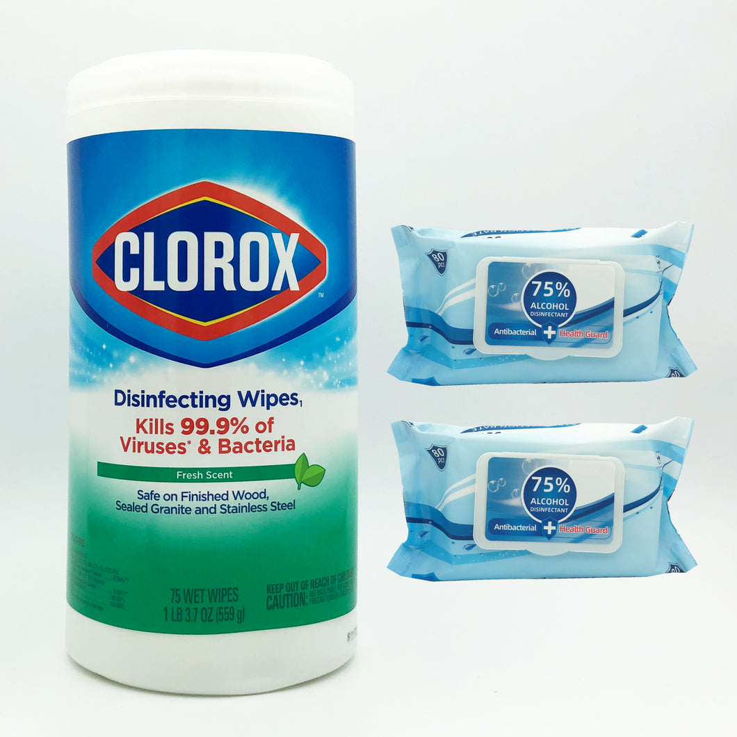 Clorox Disinfecting Wipes - Fresh Scent (75 Wipes) + Health Guard Disinfecting Wipes (160 Wipes) Bundle