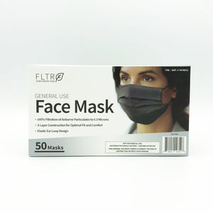 FLTR Pure Protection General Use Face Mask - 50 Masks (Black)