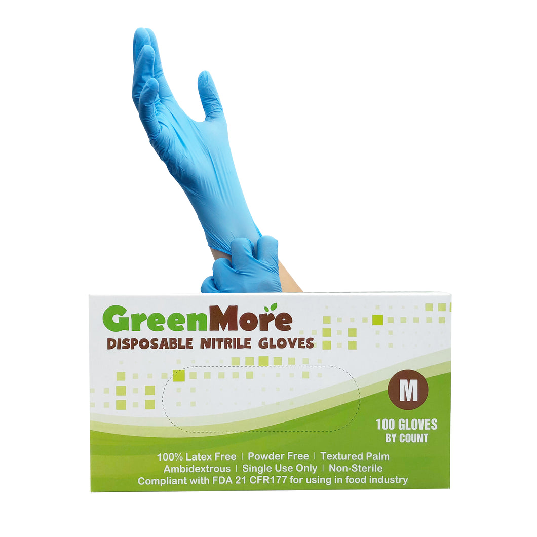 GreenMore Disposable Nitrile Gloves (Size: Large)