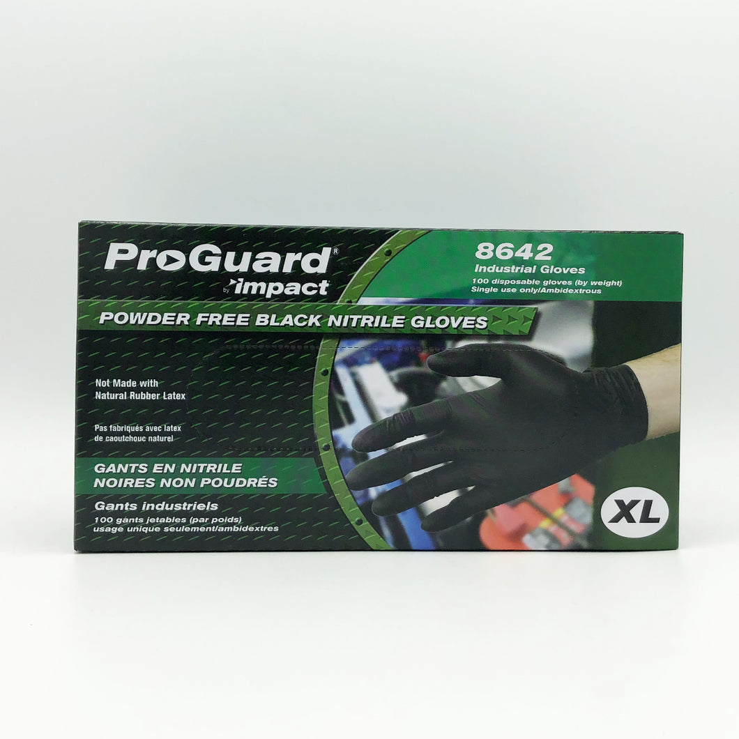 IMPACT ProGuard Disposable Black Nitrile Powder-Free Gloves - X-Large