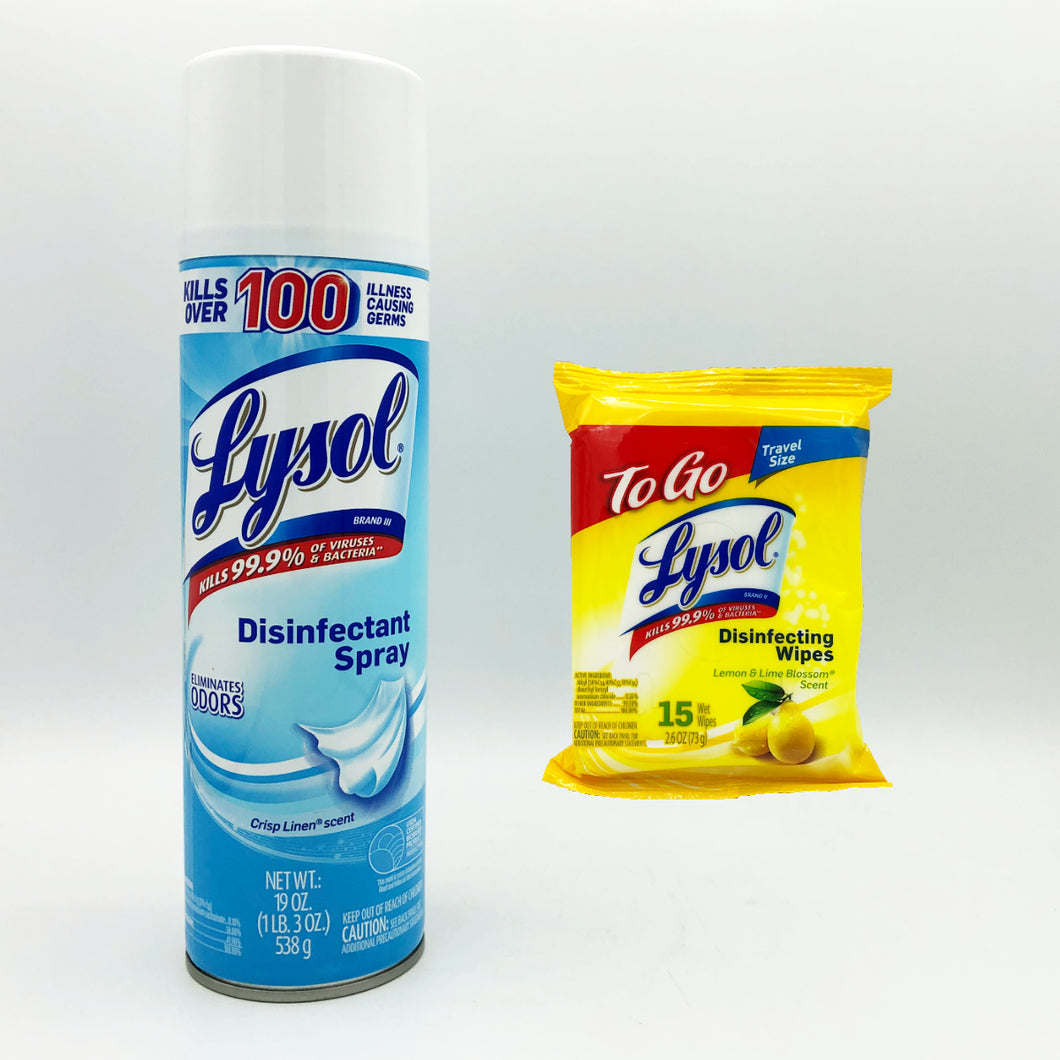 Lysol Disinfectant Spray Crisp Linen Scent (19oz.) + Lysol To Go Disinfecting Wipes (15 Wipes/Pack)