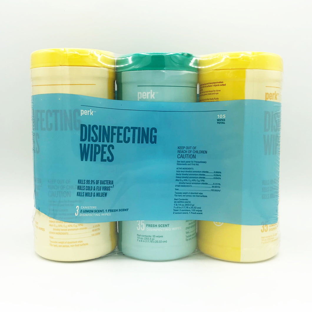 Perk Disinfecting Wipes Fresh & Lemon - 35 Wipes/Pack (Pack of 3)