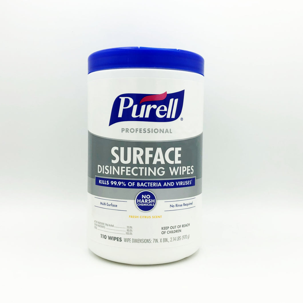 Purell Professional Surface Disinfecting Wipes - 110 Wipes (Fresh Citrus Scent)