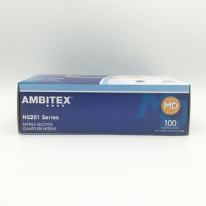 AMBITEX N5201 Series Powder Free Blue Nitrile Gloves- 100gloves/box (Medium)