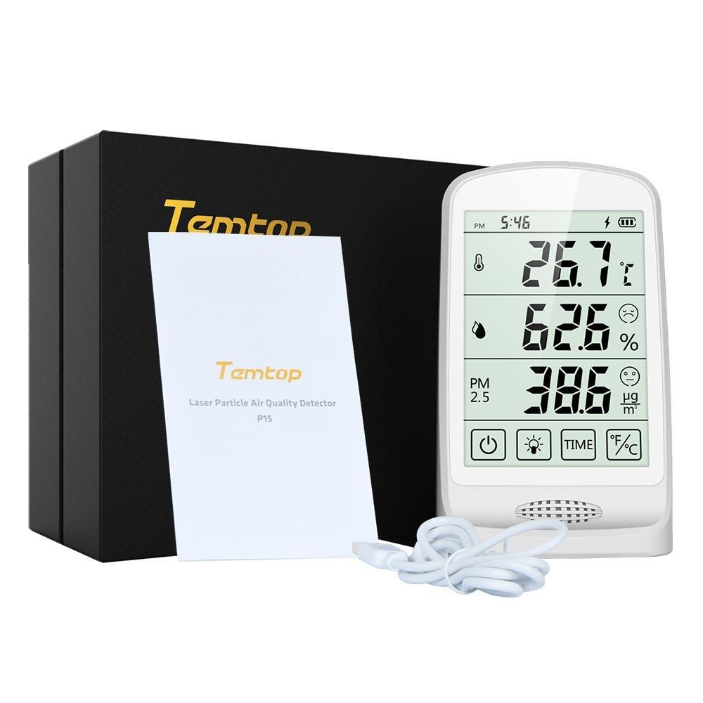 Temtop P15 Thermometer and Hygrometer Air Quality Monitor PM2.5 AQI Temperature Humidity