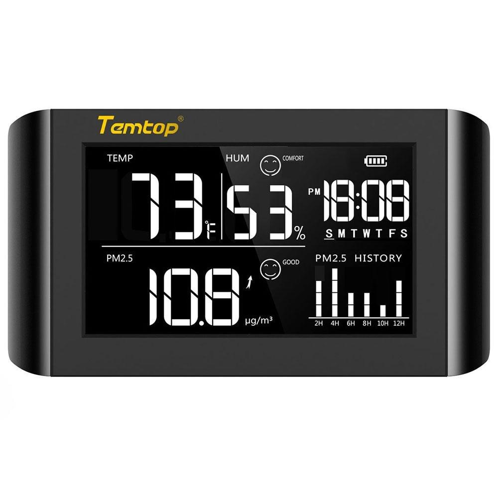 Temtop P20 PM2.5 Air Quality Monitor for Temperature Humidity Professional Laser Particle Sensor Detector Real Time Display Rechargeable Battery - Temtop