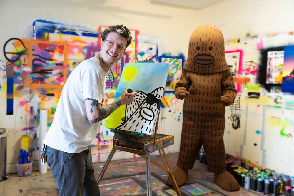 Brandon Sines painting Frank Ape in the studio NYC - photo Chris MacArthur