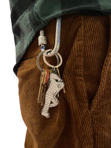 Laid Back Frank Keychain - Double sided white hard enamel