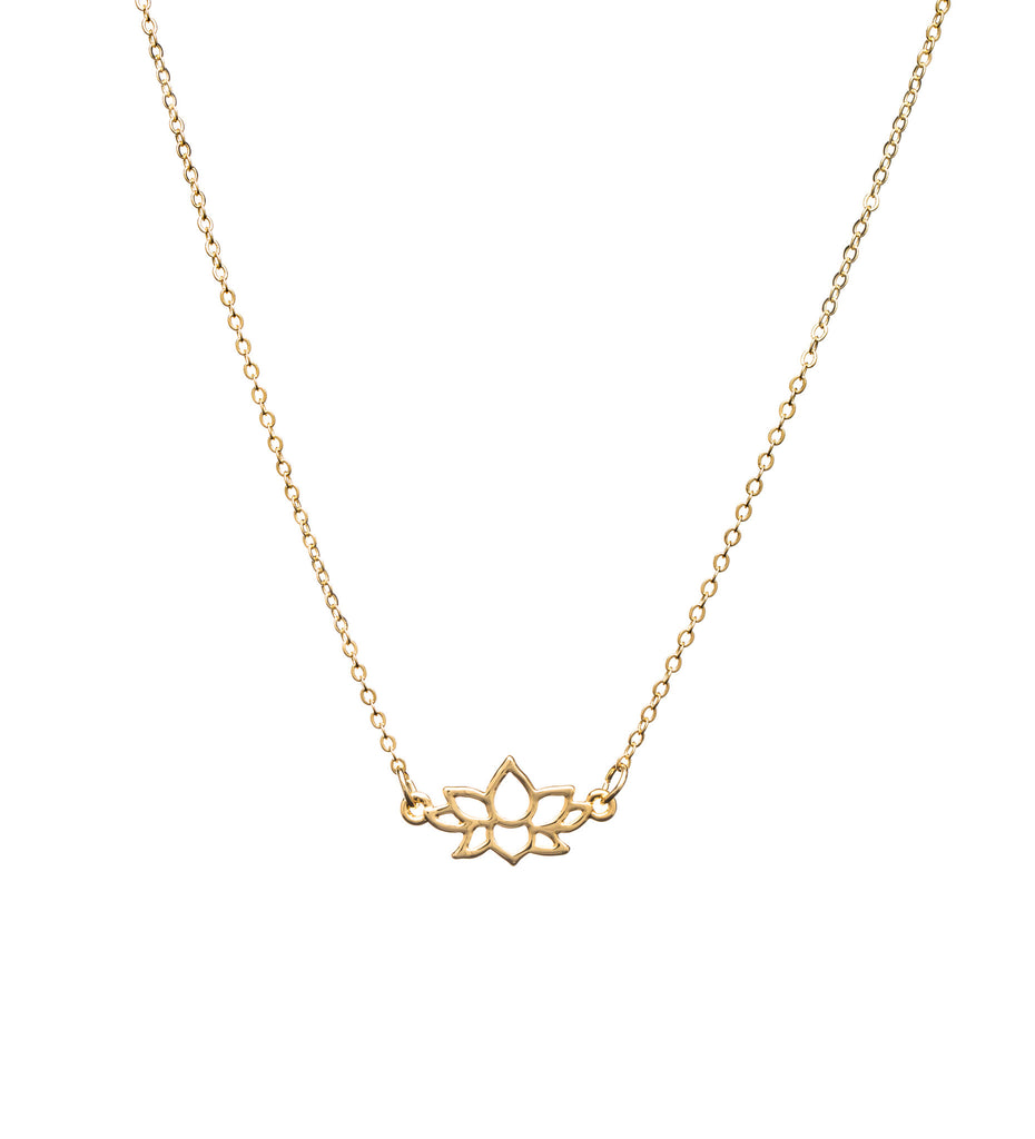 Vegan Jewelry Gold Lotus Flower Charm Necklace Yoga Jewelry The