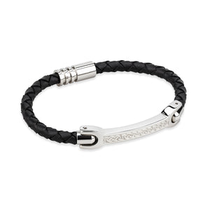 STAINLESS STEEL & LEATHER GENTS CELTIC BRACELET