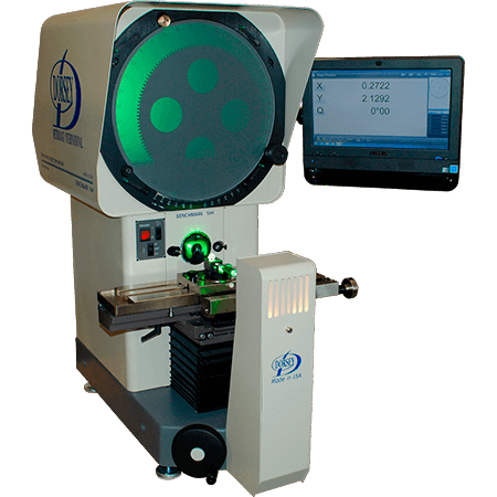 "This extremely versatile measurement instrument features a robust cast granite composite base and our proven cast iron ""ultra precision"" stage system. This comparator comes standard with integrated fiber optic surface illumination. Measurement scales are mounted in the center of travel with zero backlash. A variety of readout options combine to make this one of the most accurate and versatile horizontal benchtop comparators."