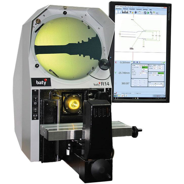 The Fowler Baty R14 bench mount optical comparator with its 340mm screen combines high accuracy non-contact measurement and inspection with a large 175mm x 100mm measuring range.