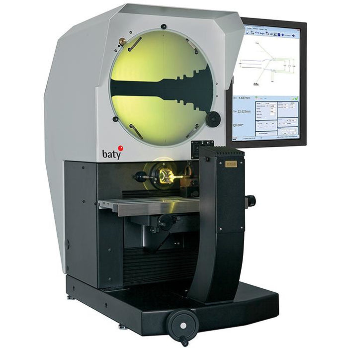 The Fowler Baty R400 bench mount optical comparator with its 400mm screen combines high accuracy non-contact measurement and inspection with a large 300mm x 150mm measuring range.