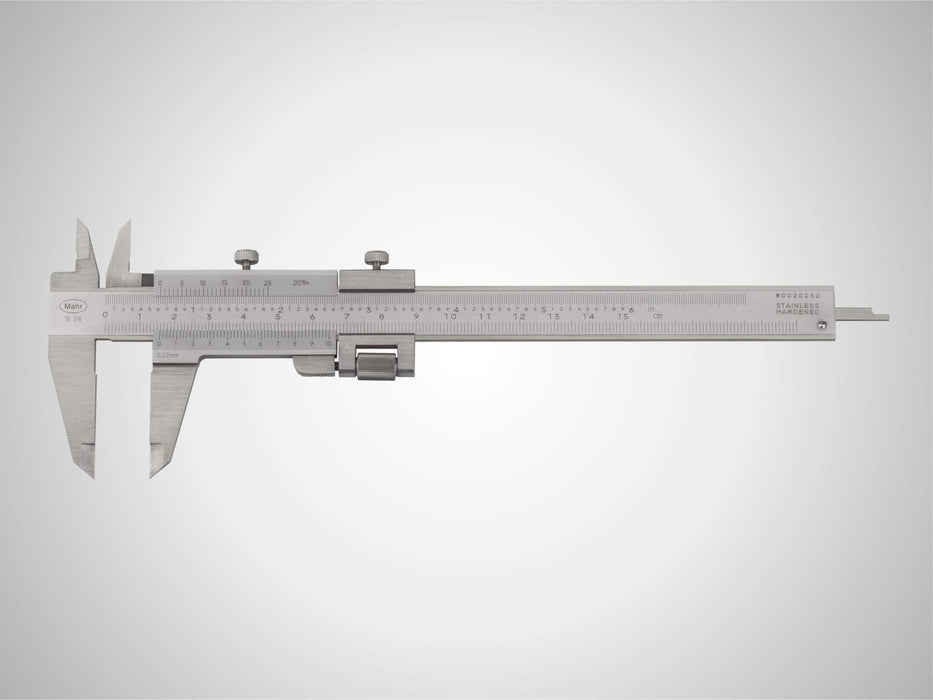 "Mahr - MarCal 16 GN Caliper with Analog Display, 0.02 mm / .001"", Locking Screw Above, With Fine Adjustment"