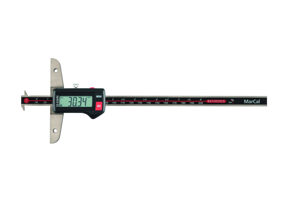 Mahr - 30 EWRi-D Digital Depth Caliper - IP 67, Integrated Wireless, Double Hook Measuring Faces